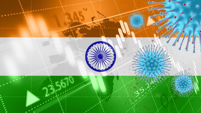 India's flag with COVID stats