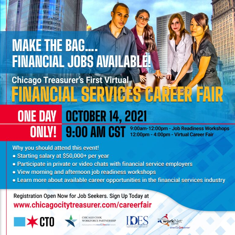 A flyer for the Chicago Treasurer's Office's Financial Services Career Fair.